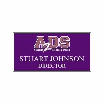 1.5 x 3 Name Tag Purple Engraves White | Full Color Imprint