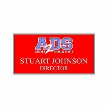 1.5 x 3 Name Tag Red Engraves White | Full Color Imprint