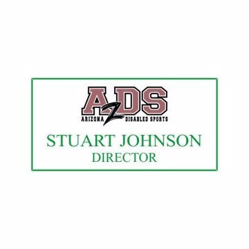 1.5 x 3 Name Tag White Engraves Green | Full Color Imprint