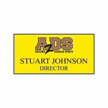 1.5 x 3 Name Tag Yellow Engraves Black | Full Color Imprint