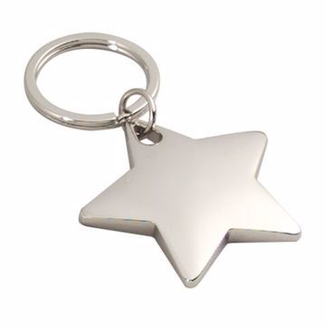Star Shaped Silver Keyring | Engraving Included