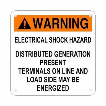 Aluminum Electrical Shock Hazard Solar Tag