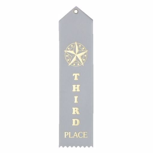 3rd Place Card & String Ribbon | White
