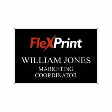2 x 3 Name Tag Black Engraves White | Full Color Imprint