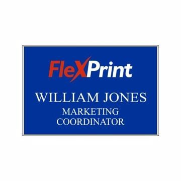 2 x 3 Name Tag Blue Engraves White | Full Color Imprint