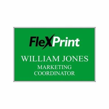 2 x 3 Name Tag Green Engraves White | Full Color Imprint