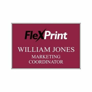 2 x 3 Name Tag Maroon Engraves White | Full Color Imprint