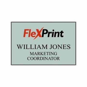 2 x 3 Name Tag Silver Engraves Black   Full Color Imprint