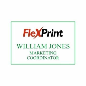 2 x 3 Name Tag White Engraves Green | Full Color Imprint