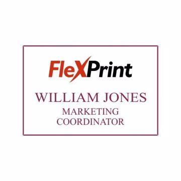 2 x 3 Name Tag White Engraves Maroon | Full Color Imprint