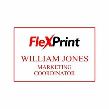 2 x 3 Name Tag White Engraves Red | Full Color Imprint