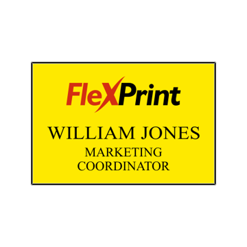 2 x 3 Name Tag Yellow Engraves Black | Full Color Imprint