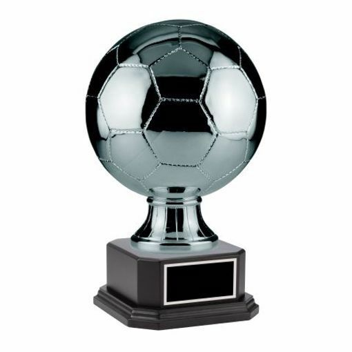 """Silver Soccer Sport Resin On Matte Black Base 8"""" & 14"""" Available 