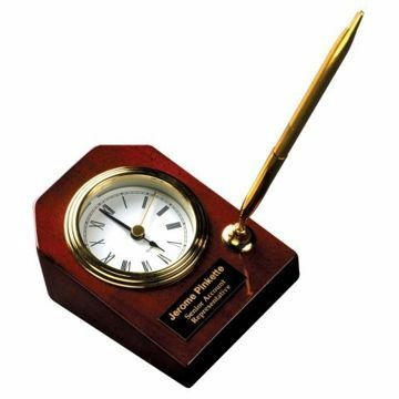 Rosewood Desk Clock With Pen | Engraving Included