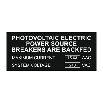Photovoltaic Electric Power Backfed Solar Label | Values Added | Engraving Included