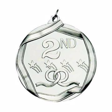 """MS692 2 1/4"""" Die Cast 2nd Place Medallion   SILVER"""