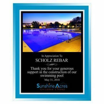 Blue Glass Photo Plaque | Free Set-Up & Engraving