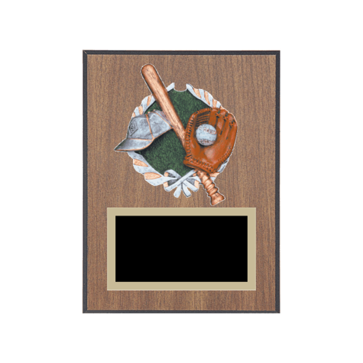 "6"" x 8"" Baseball Plaque with gold background plate, colored engraving plate and full color 3D resin Baseball medallion."