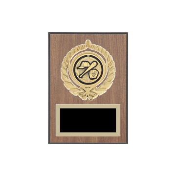 "5"" x 7"" Baseball Plaque with gold background plate, colored engraving plate, gold open wreath medallion holder and Baseball insert."