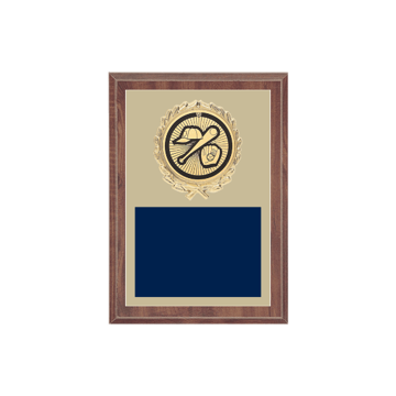 "5"" x 7"" Baseball Plaque with gold background plate, colored engraving plate, gold wreath medallion and Baseball insert."