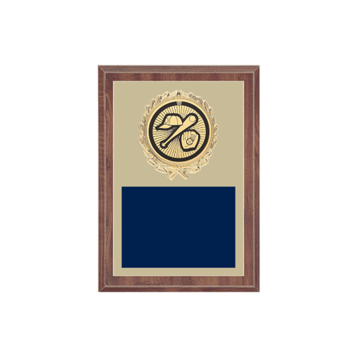 """5"""" x 7"""" Baseball Plaque with gold background plate, colored engraving plate, gold wreath medallion and Baseball insert."""