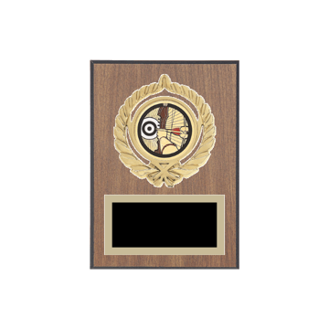 "5"" x 7"" Archery Plaque with gold background plate, colored engraving plate, gold open wreath medallion holder and Archery insert."