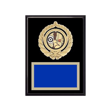 """6"""" x 8"""" Archery Plaque with gold background plate, colored engraving plate, gold open wreath medallion holder and Archery insert."""