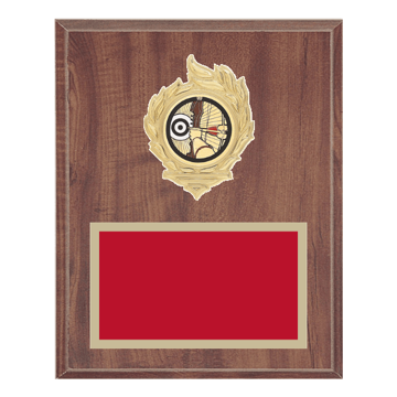 "8"" x 10"" Archery Plaque with gold background, colored engraving plate, gold flame medallion holder and Archery insert."
