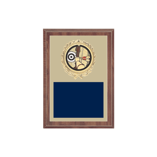 """5"""" x 7"""" Archery Plaque with gold background plate, colored engraving plate, gold wreath medallion and Archery insert."""