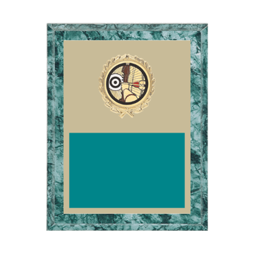 """7"""" x 9"""" Archery Plaque with gold background plate, colored engraving plate, gold wreath medallion and Archery insert."""