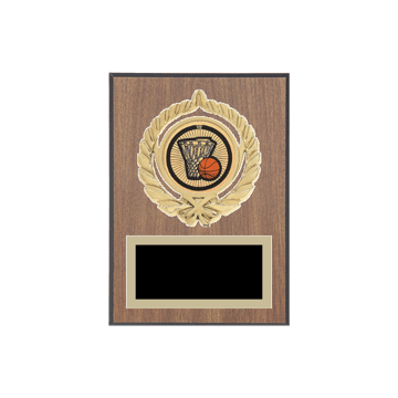 "5"" x 7"" Basketball Plaque with gold background plate, colored engraving plate, gold open wreath medallion holder and Basketball insert."