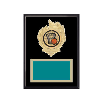 "6"" x 8"" Basketball Plaque with gold background, colored engraving plate, gold flame medallion holder and Basketball insert."