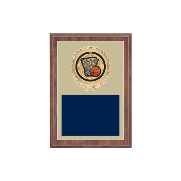 "5"" x 7"" Basketball Plaque with gold background plate, colored engraving plate, gold wreath medallion and Basketball insert."