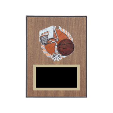 "6"" x 8"" Basketball Plaque with gold background plate, colored engraving plate and full color 3D resin Basketball medallion."