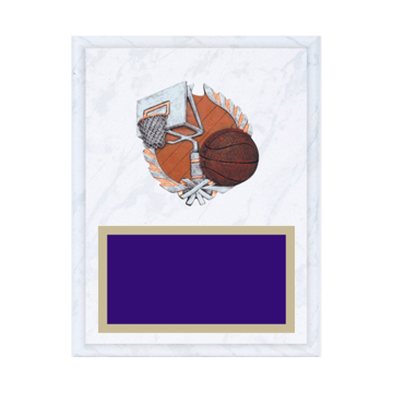 "7"" x 9"" Basketball Plaque with gold background plate, colored engraving plate and full color 3D resin Basketball medallion."