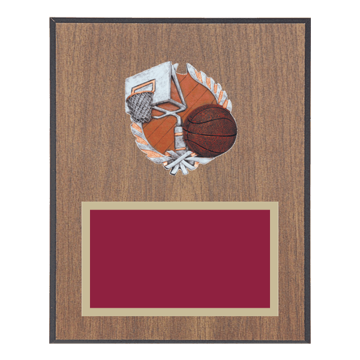 "8"" x 10"" Basketball Plaque with gold background plate, colored engraving plate and full color 3D resin Basketball medallion."