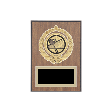 "5"" x 7"" Badminton Plaque with gold background plate, colored engraving plate, gold open wreath medallion holder and Badminton insert."
