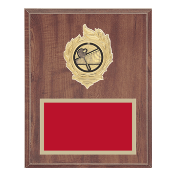 "8"" x 10"" Badminton Plaque with gold background, colored engraving plate, gold flame medallion holder and Badminton insert."