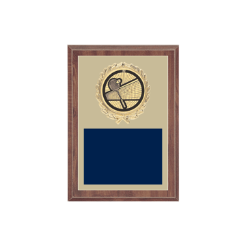 "5"" x 7"" Badminton Plaque with gold background plate, colored engraving plate, gold wreath medallion and Badminton insert."