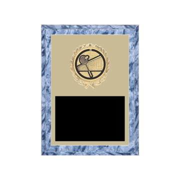 "6"" x 8"" Badminton Plaque with gold background plate, colored engraving plate, gold wreath medallion and Badminton insert."