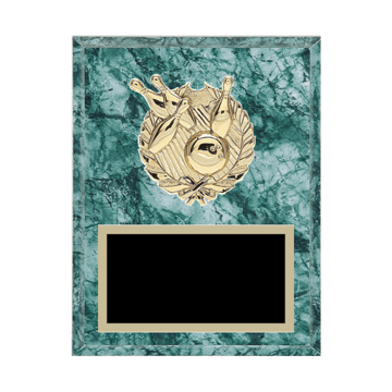"""7"""" x 9"""" Bowling Plaque with gold background plate, colored engraving plate and gold 3D Bowling medallion."""