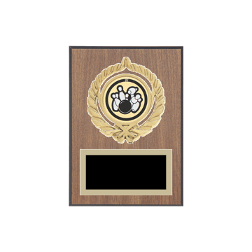 "5"" x 7"" Bowling Plaque with gold background plate, colored engraving plate, gold open wreath medallion holder and Bowling insert."