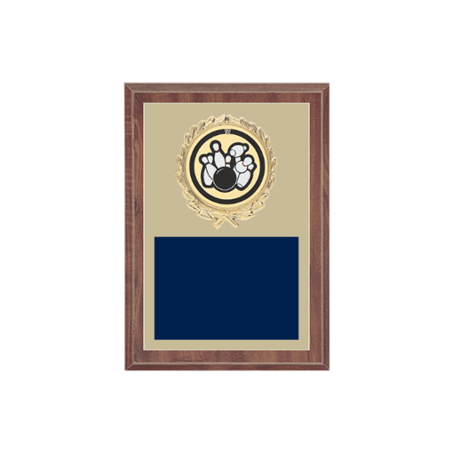 """5"""" x 7"""" Bowling Plaque with gold background plate, colored engraving plate, gold wreath medallion and Bowling insert."""