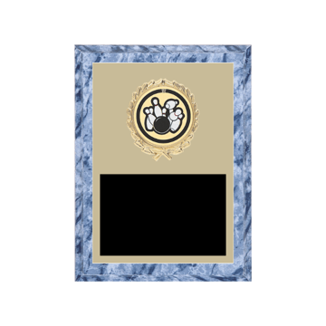 "6"" x 8"" Bowling Plaque with gold background plate, colored engraving plate, gold wreath medallion and Bowling insert."