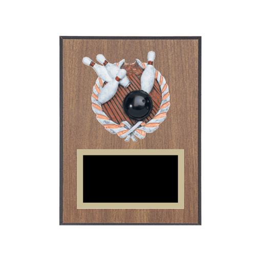 "6"" x 8"" Bowling Plaque with gold background plate, colored engraving plate and full color 3D resin Bowling medallion."