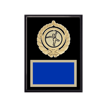 """6"""" x 8"""" Baton Twirling Plaque with gold background plate, colored engraving plate, gold open wreath medallion holder and Baton Twirling insert."""