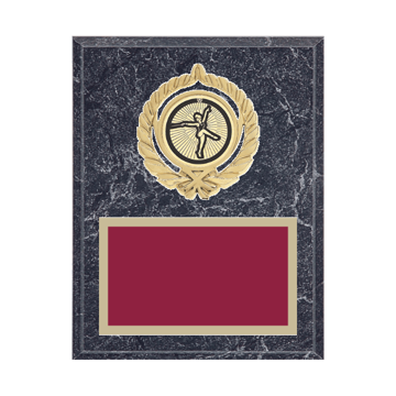 """7"""" x 9"""" Baton Twirling Plaque with gold background plate, colored engraving plate, gold open wreath medallion holder and Baton Twirling insert."""
