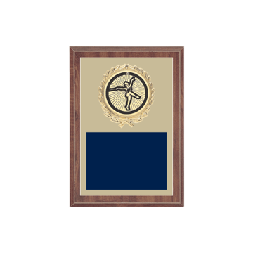 """5"""" x 7"""" Baton Twirling Plaque with gold background plate, colored engraving plate, gold wreath medallion and Baton Twirling insert."""