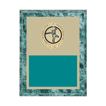 """7"""" x 9"""" Baton Twirling Plaque with gold background plate, colored engraving plate, gold wreath medallion and Baton Twirling insert."""