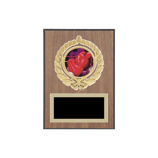 "5"" x 7"" Boxing Plaque with gold background plate, colored engraving plate, gold open wreath medallion holder and Boxing insert."